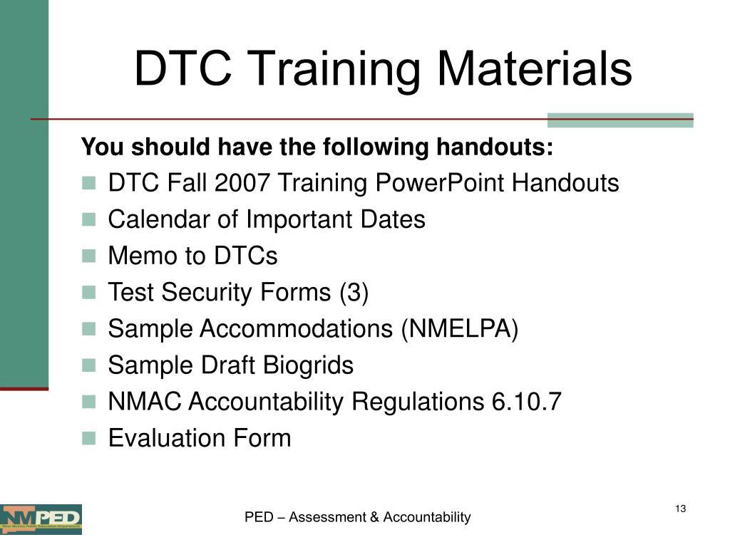 DTC Training Materials