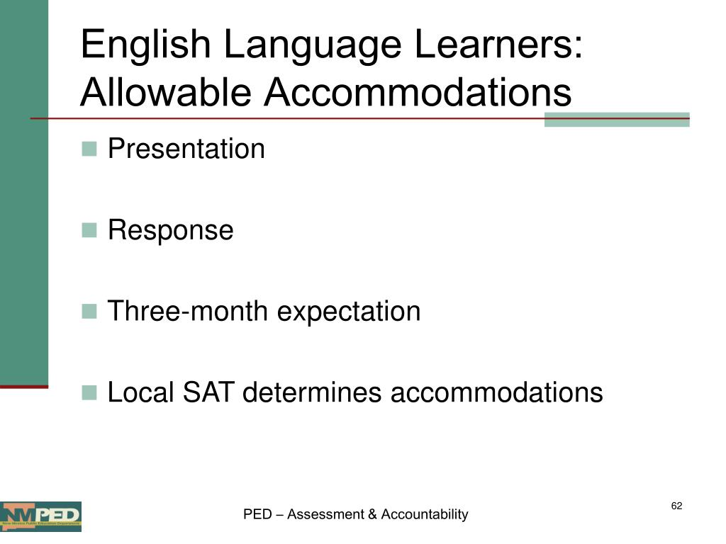 English Language Learners: Allowable Accommodations