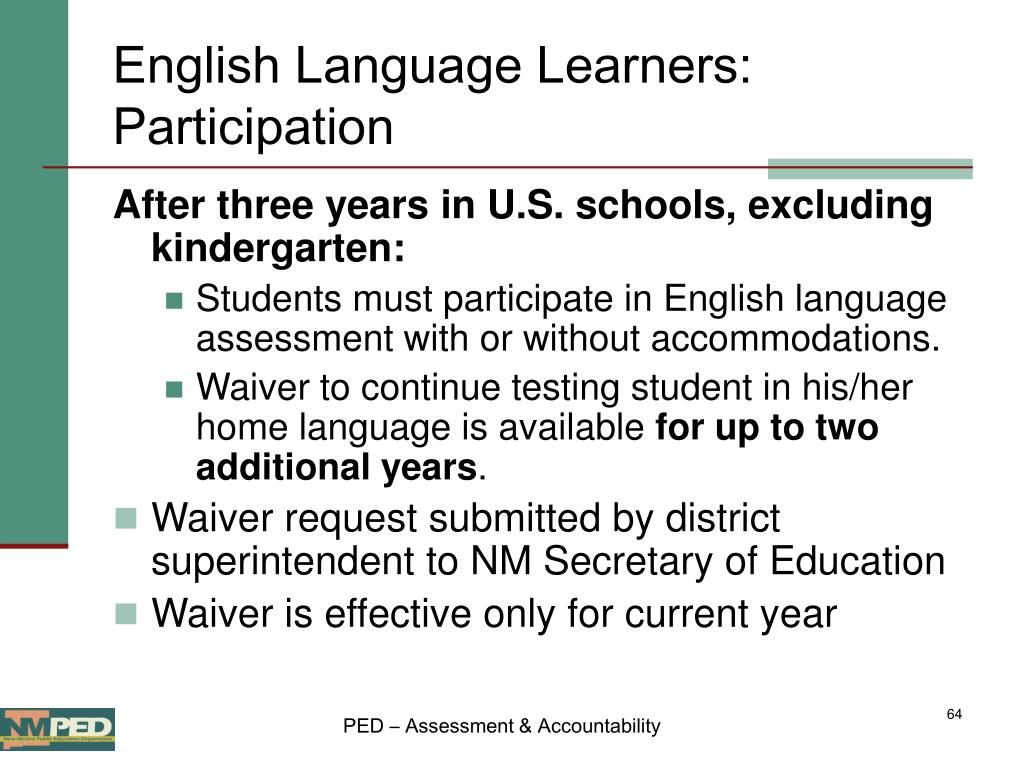 English Language Learners: Participation