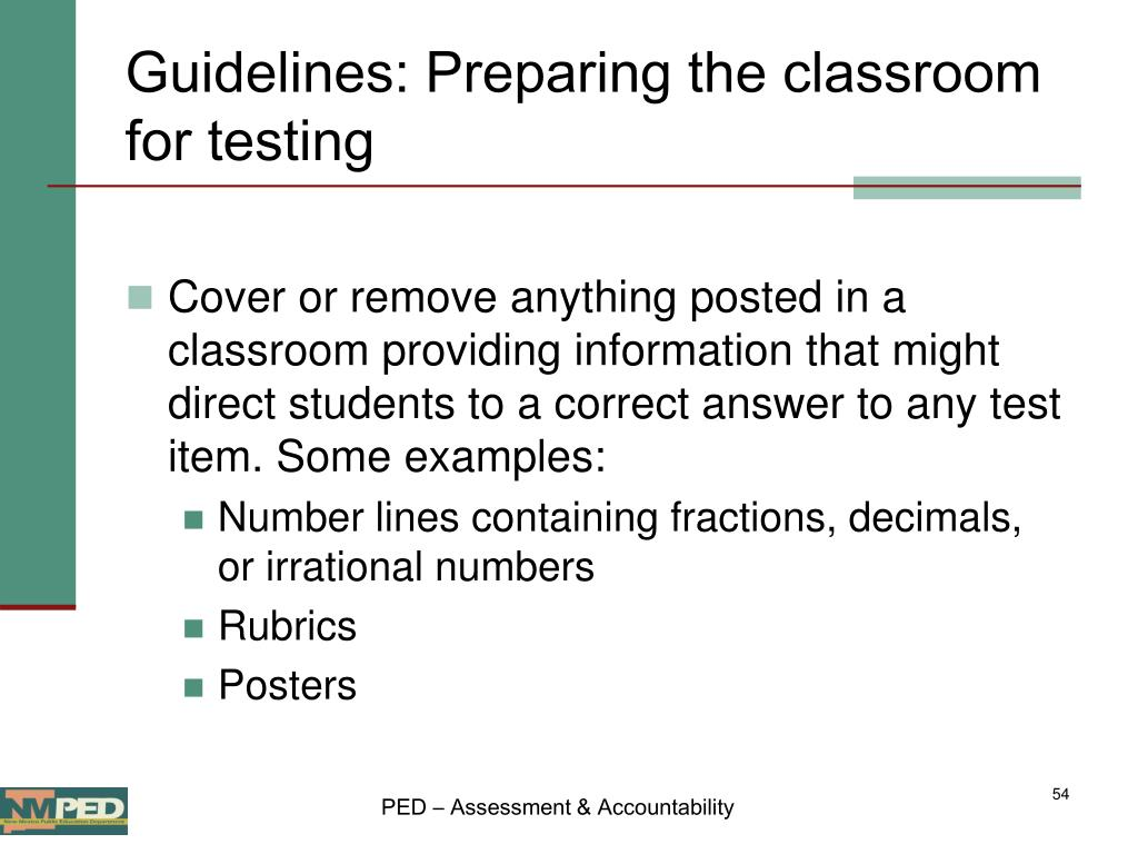 Guidelines: Preparing the classroom