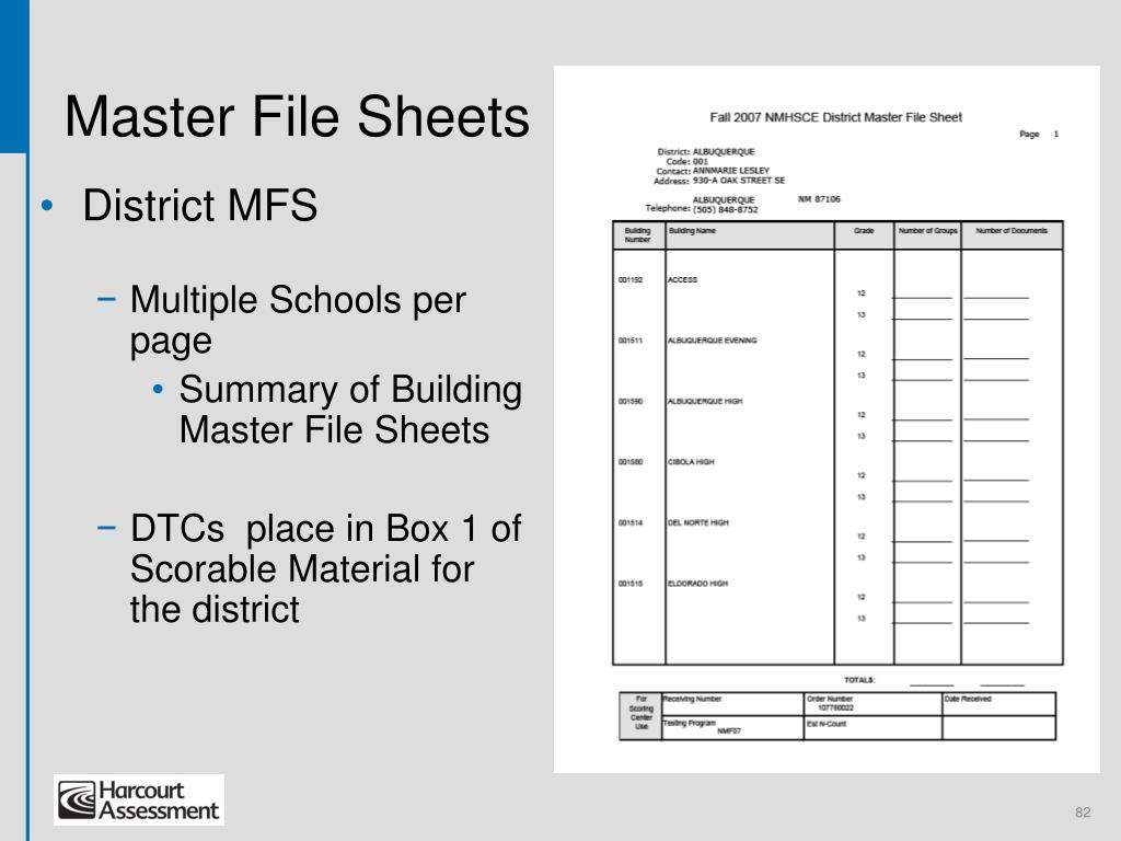 Master File Sheets