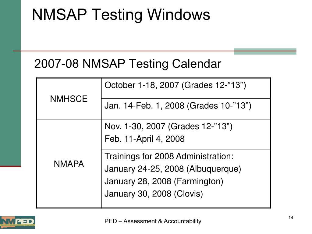 NMSAP Testing Windows