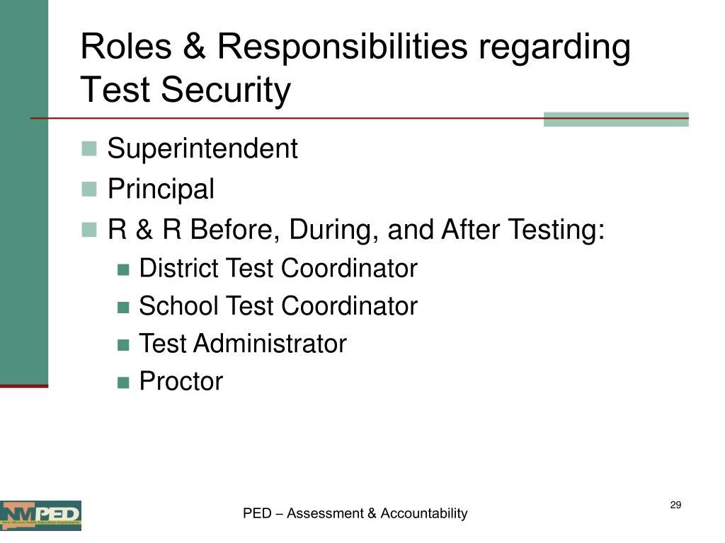 Roles & Responsibilities regarding Test Security