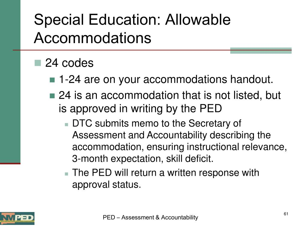 Special Education: Allowable Accommodations