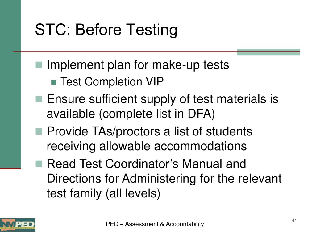 STC: Before Testing