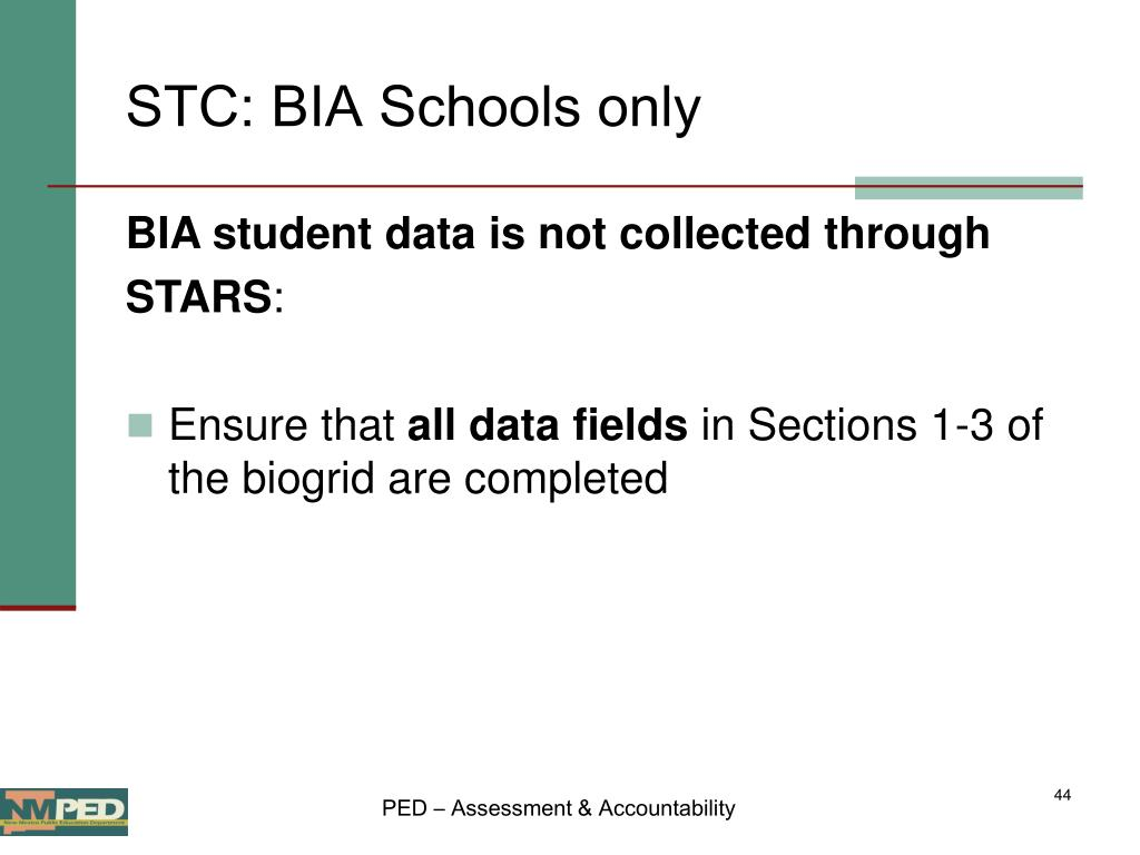 STC: BIA Schools only