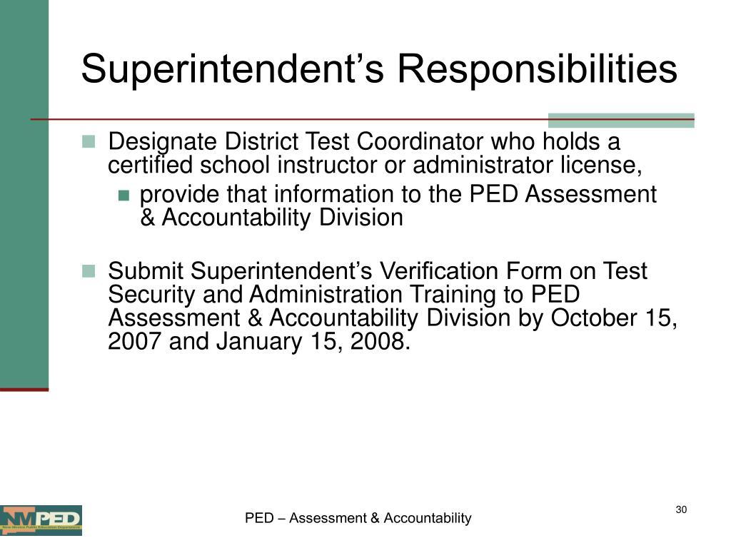 Superintendent's Responsibilities