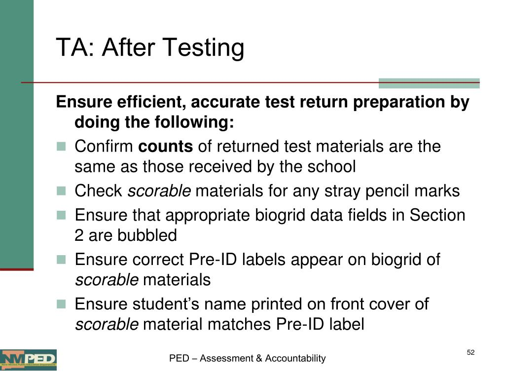 TA: After Testing