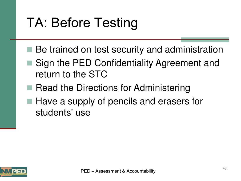 TA: Before Testing