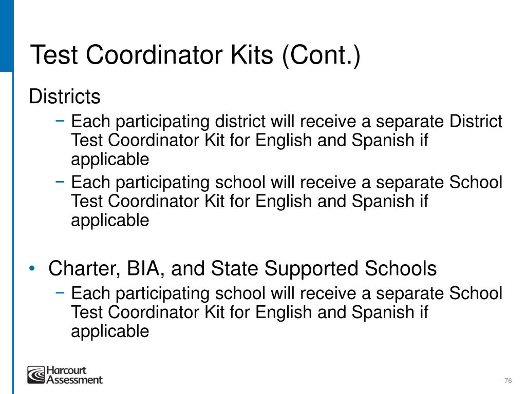 Test Coordinator Kits (Cont.)