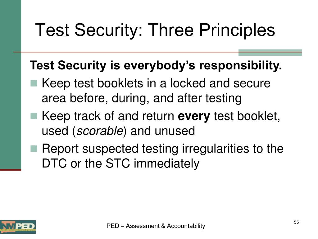 Test Security: Three Principles