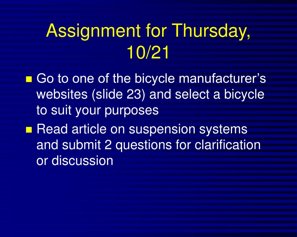 Assignment for Thursday, 10/21