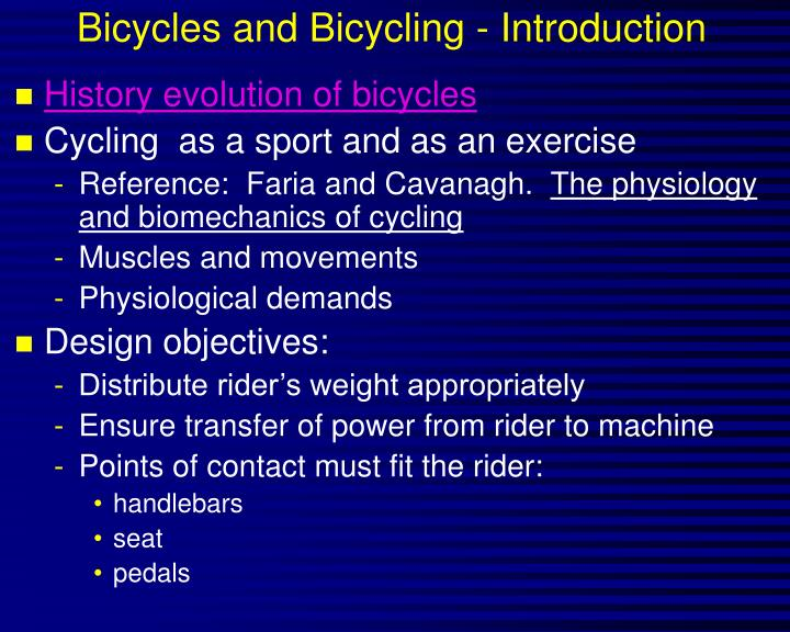 Bicycles and bicycling introduction