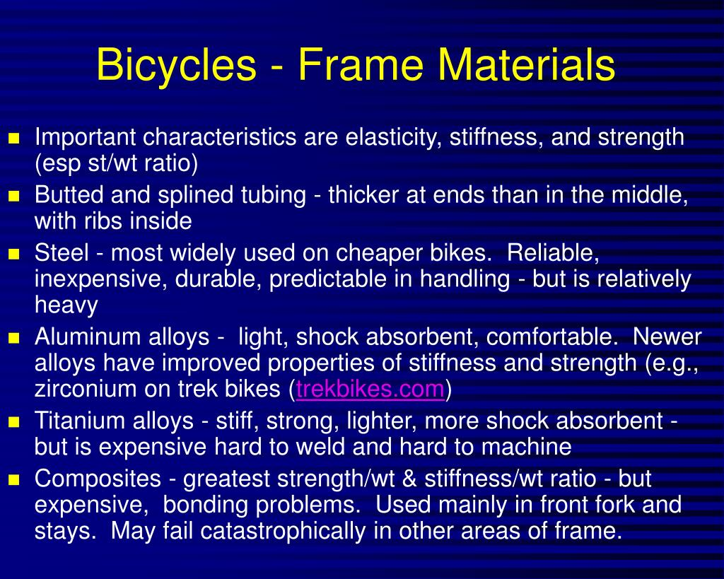 Bicycles - Frame Materials