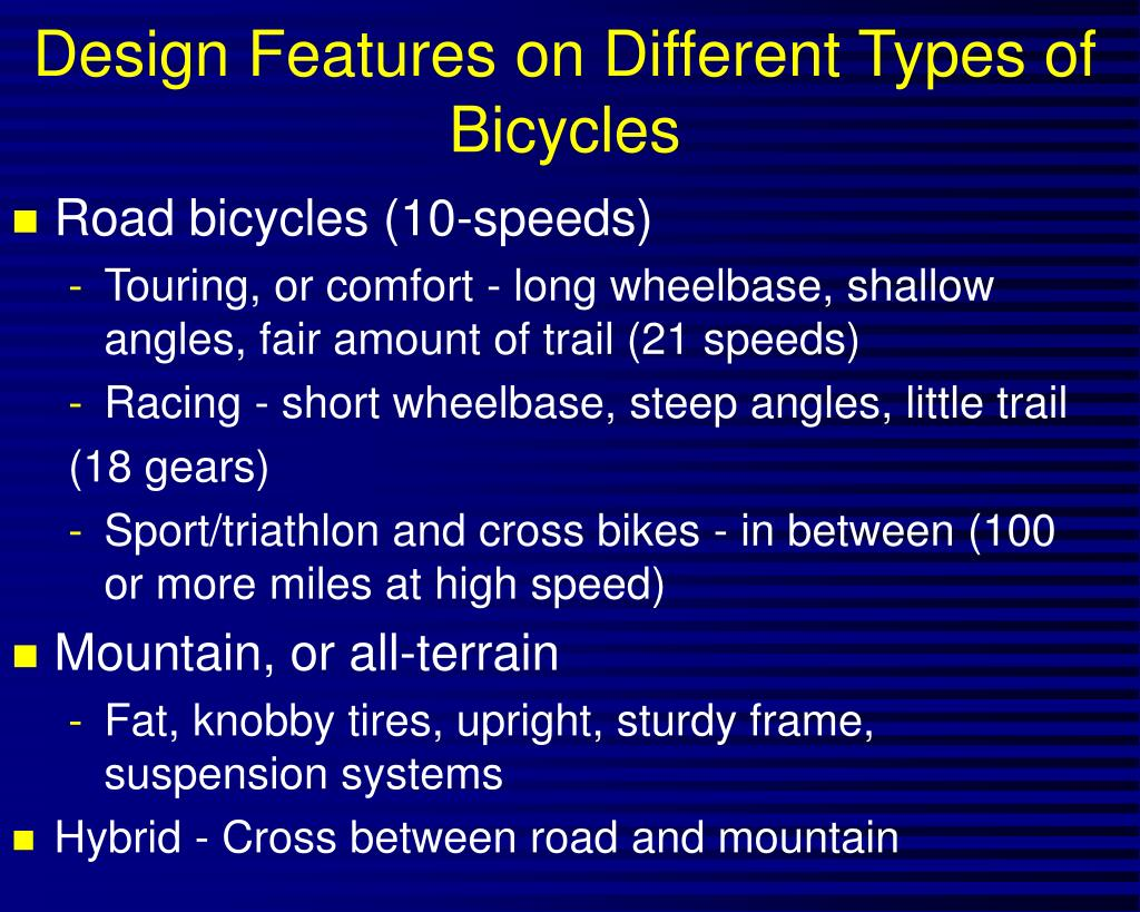 Design Features on Different Types of Bicycles