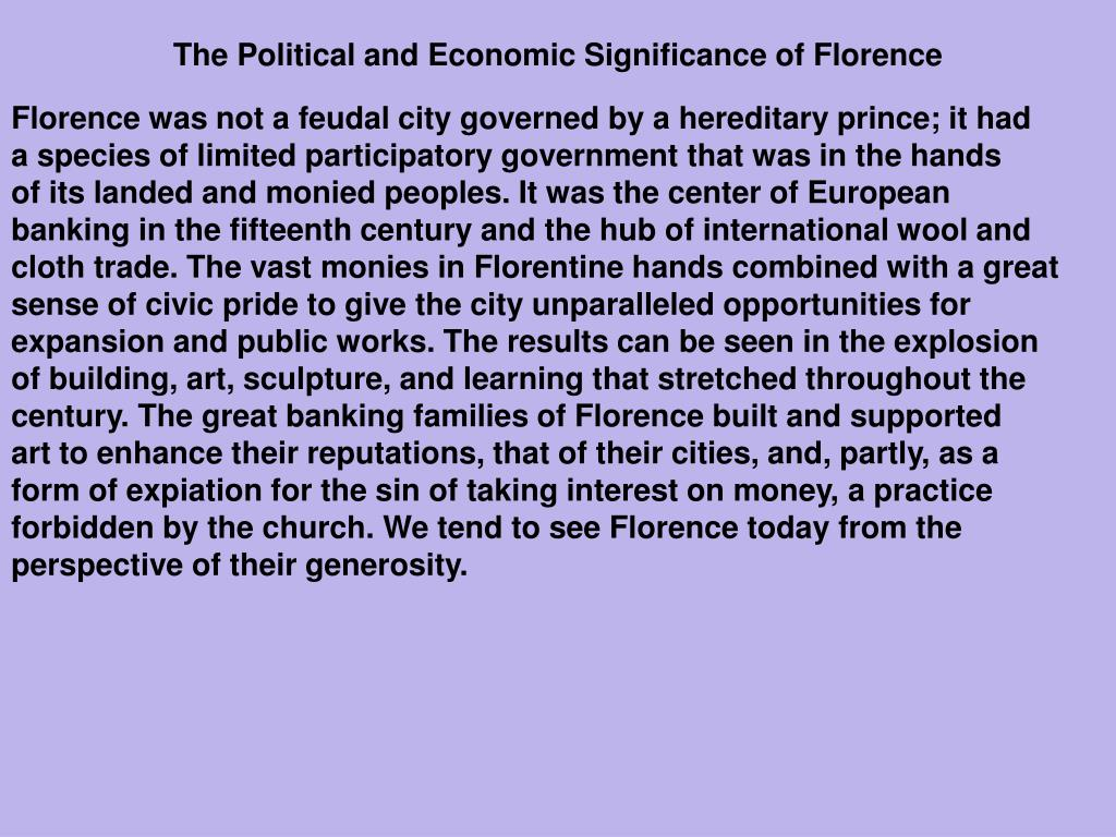 The Political and Economic Significance of Florence