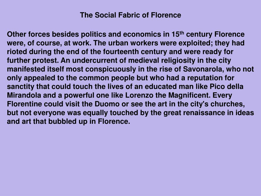 The Social Fabric of Florence