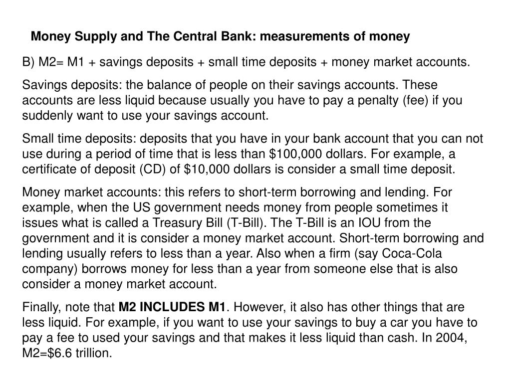 Money Supply and The Central Bank: measurements of money