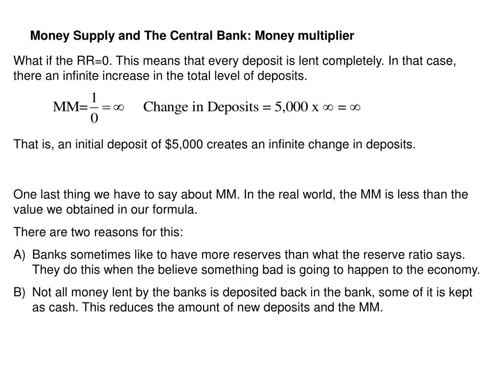 Money Supply and The Central Bank: Money multiplier