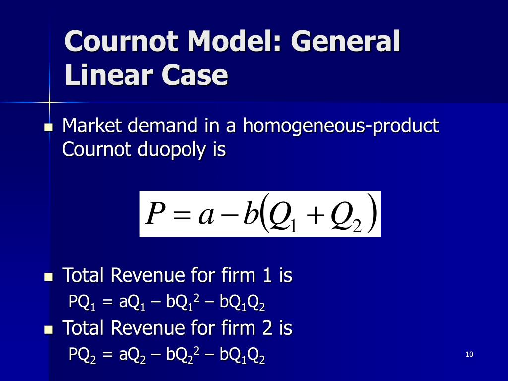 Cournot Model: General Linear Case