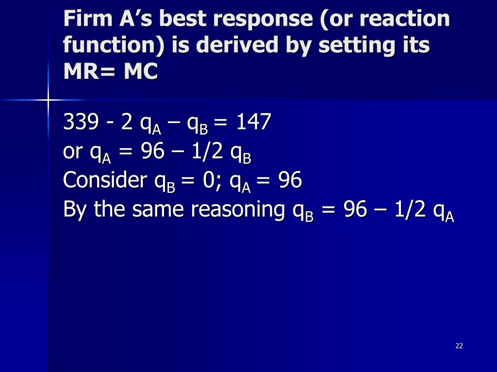 Firm A's best response (or reaction function) is derived by setting its MR= MC