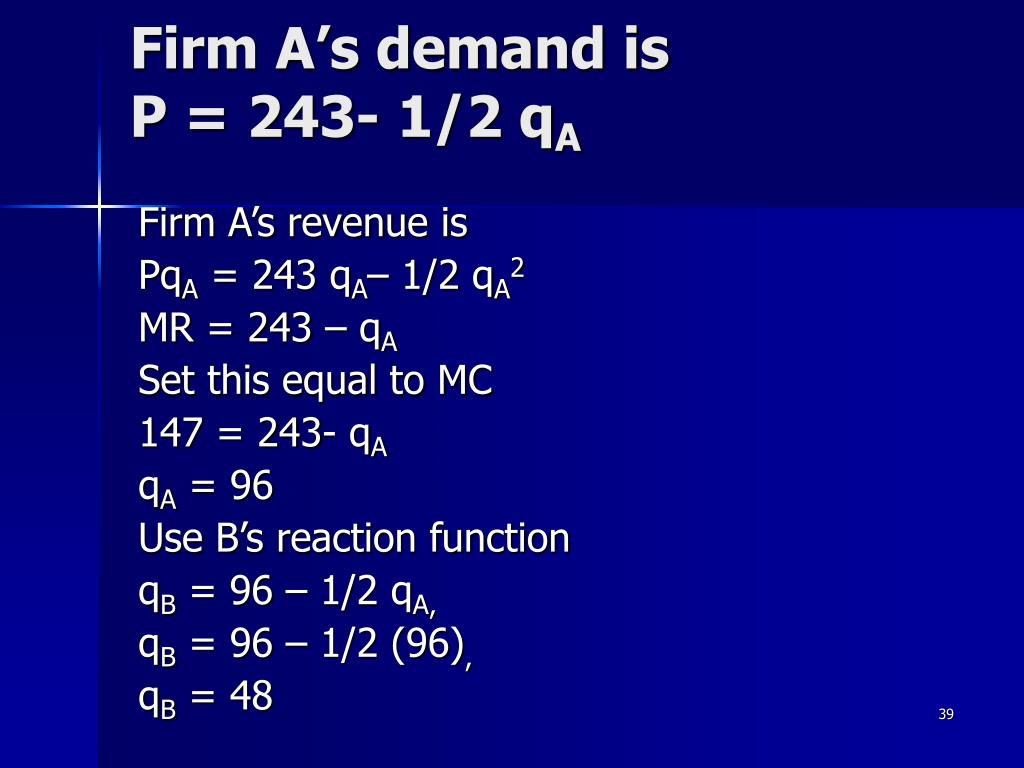 Firm A's demand is
