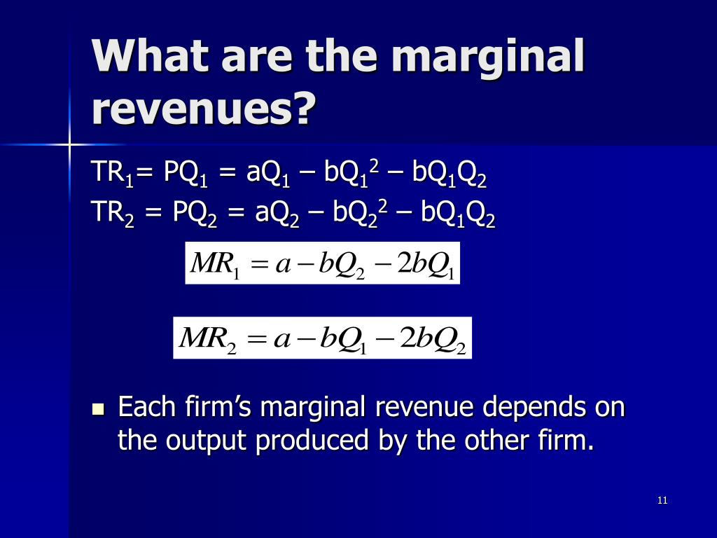 What are the marginal revenues?