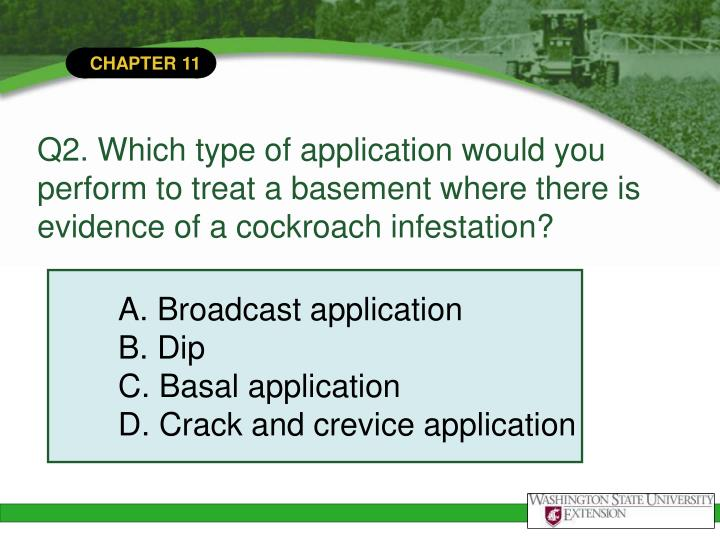 Q2. Which type of application would you perform to treat a basement where there is evidence of a cockroach infestation?
