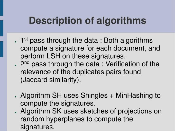 Description of algorithms