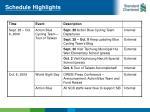 schedule highlights