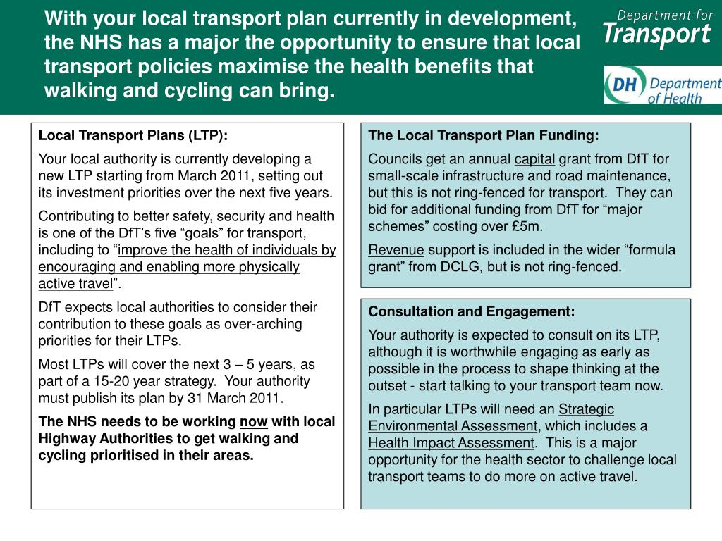 With your local transport plan currently in development, the NHS has a major the opportunity to ensure that local transport policies maximise the health benefits that walking and cycling can bring.