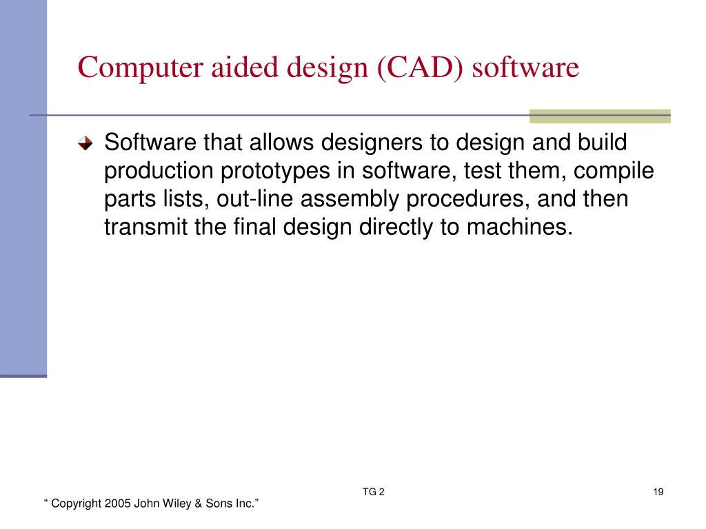 Computer aided design (CAD) software