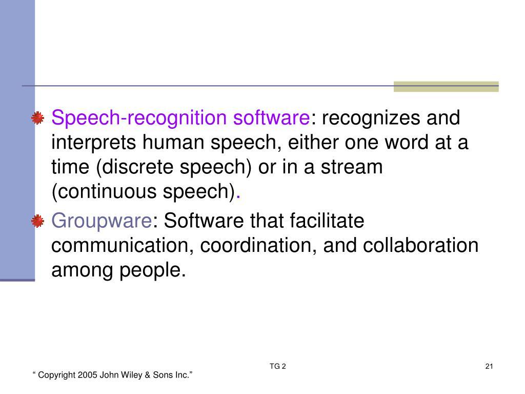 Speech-recognition software