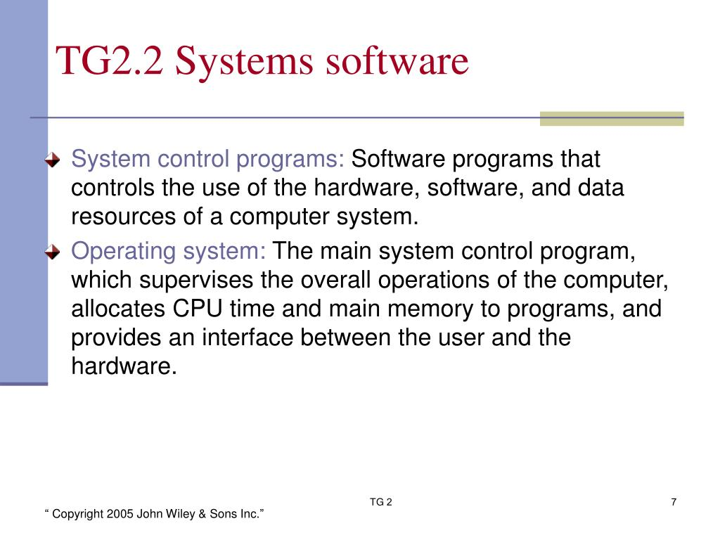 TG2.2 Systems software