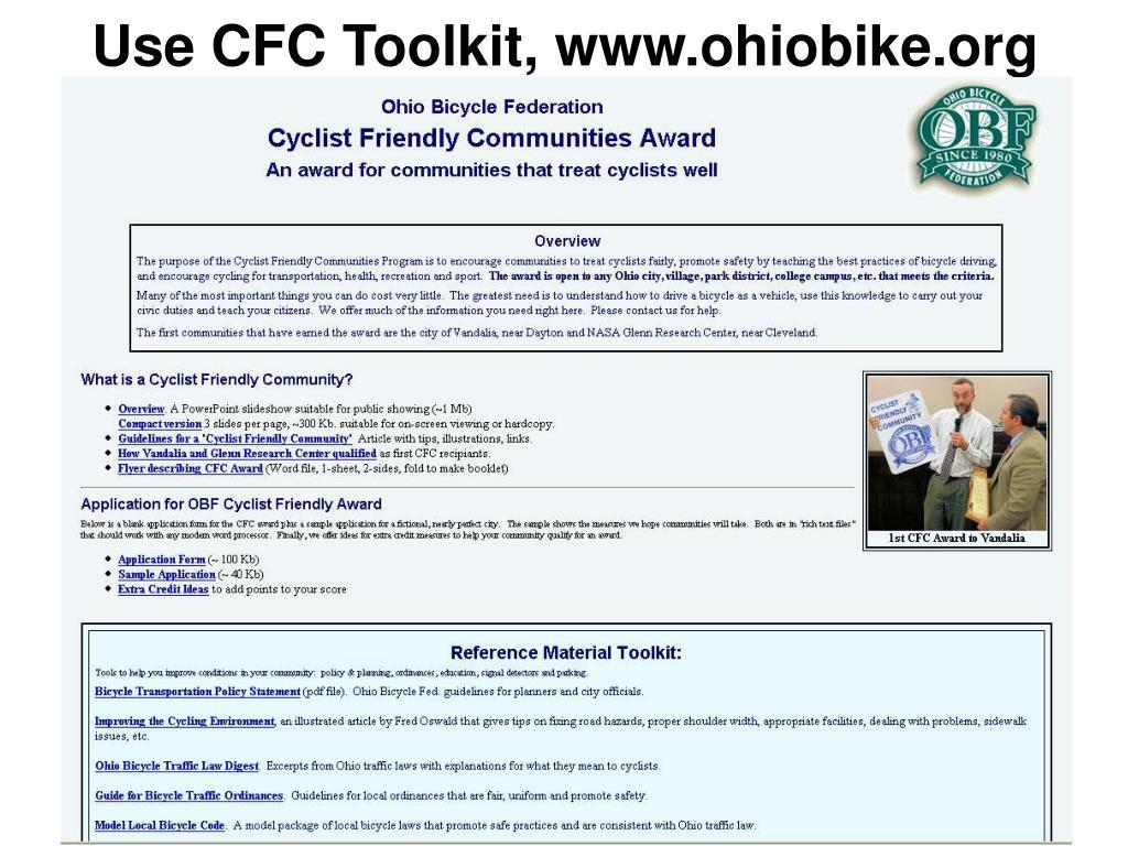 Use CFC Toolkit, www.ohiobike.org