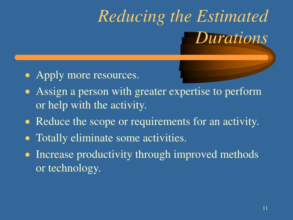 Reducing the Estimated Durations