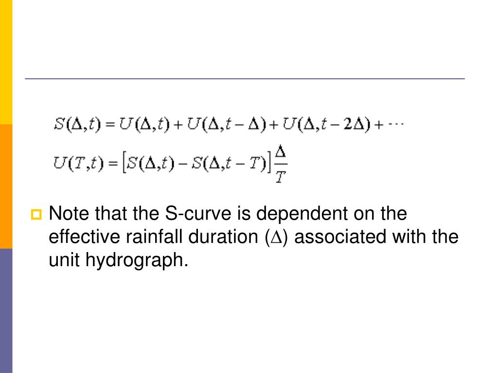 Note that the S-curve is dependent on the effective rainfall duration (