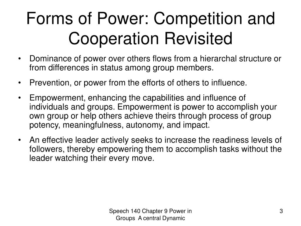 Forms of Power: Competition and Cooperation Revisited