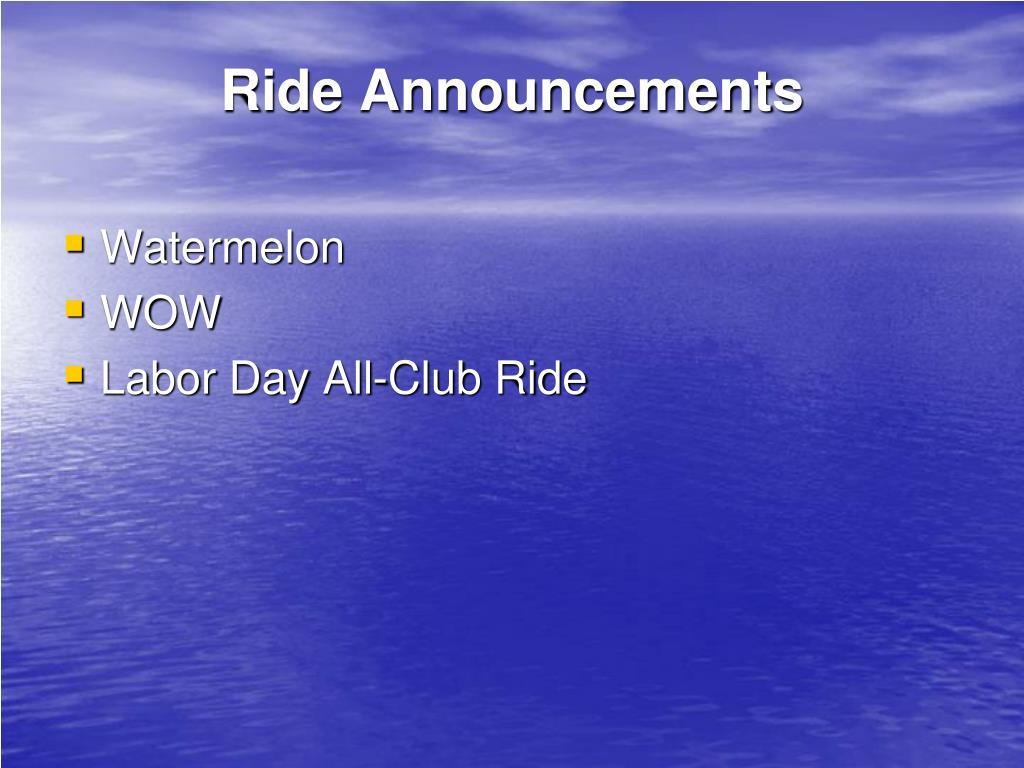 Ride Announcements