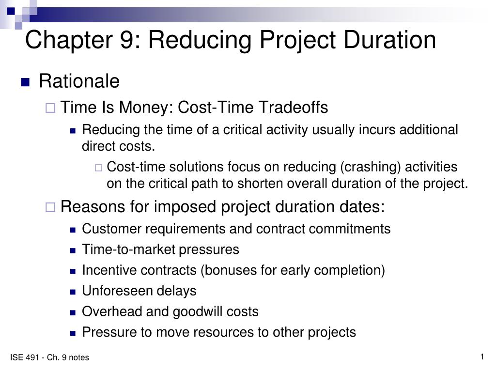 Chapter 9: Reducing Project Duration