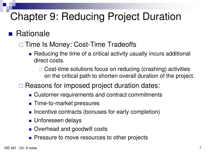Chapter 9 reducing project duration