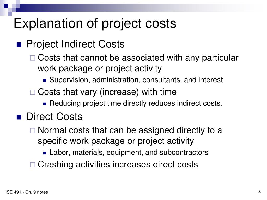 Explanation of project costs