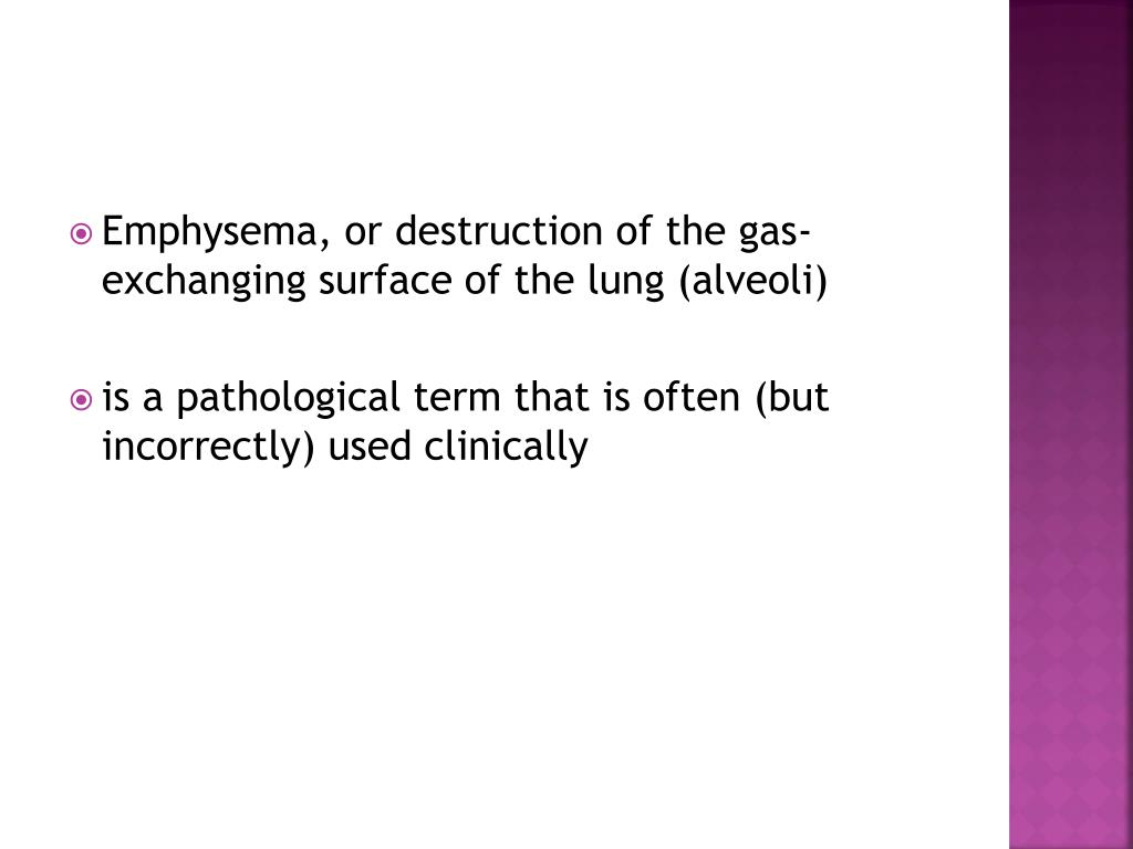 Emphysema, or destruction of the gas-exchanging surface of the lung (alveoli)