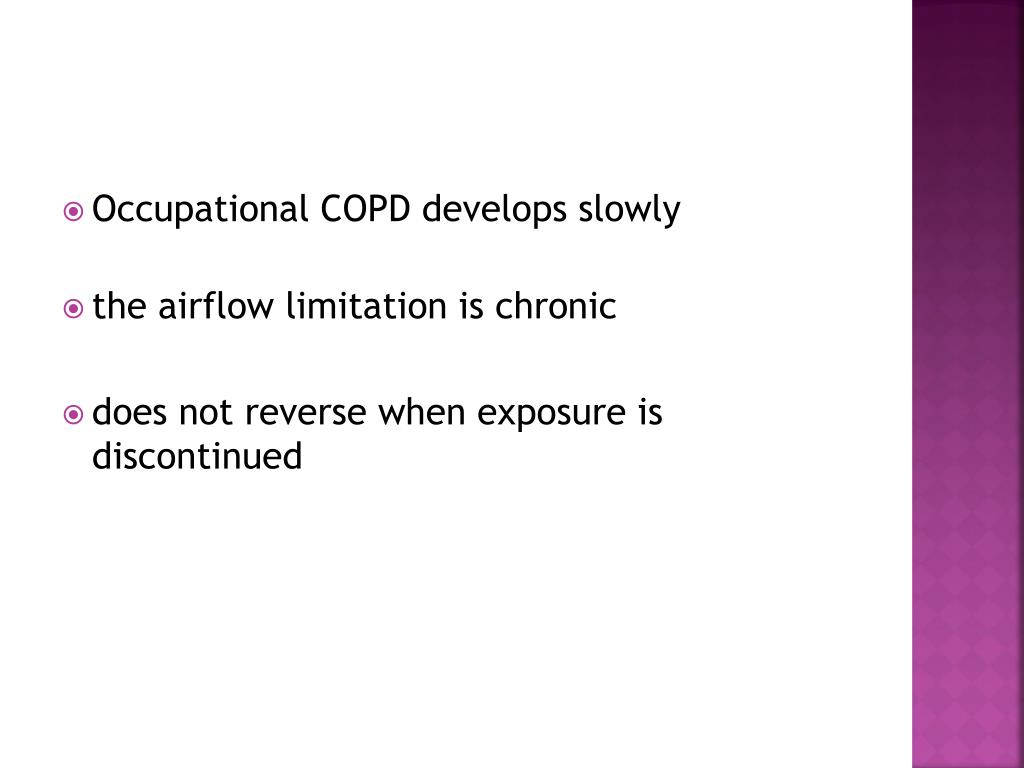 Occupational COPD develops slowly