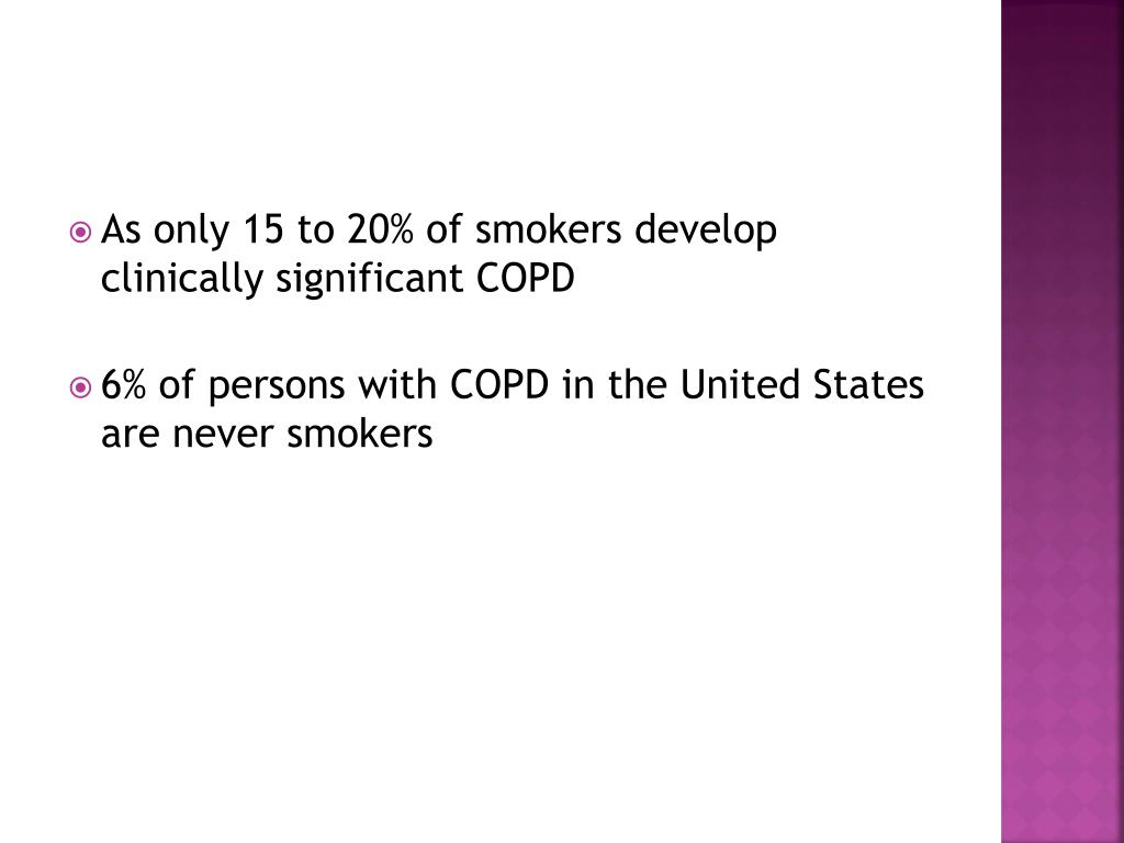 As only 15 to 20% of smokers develop clinically significant COPD