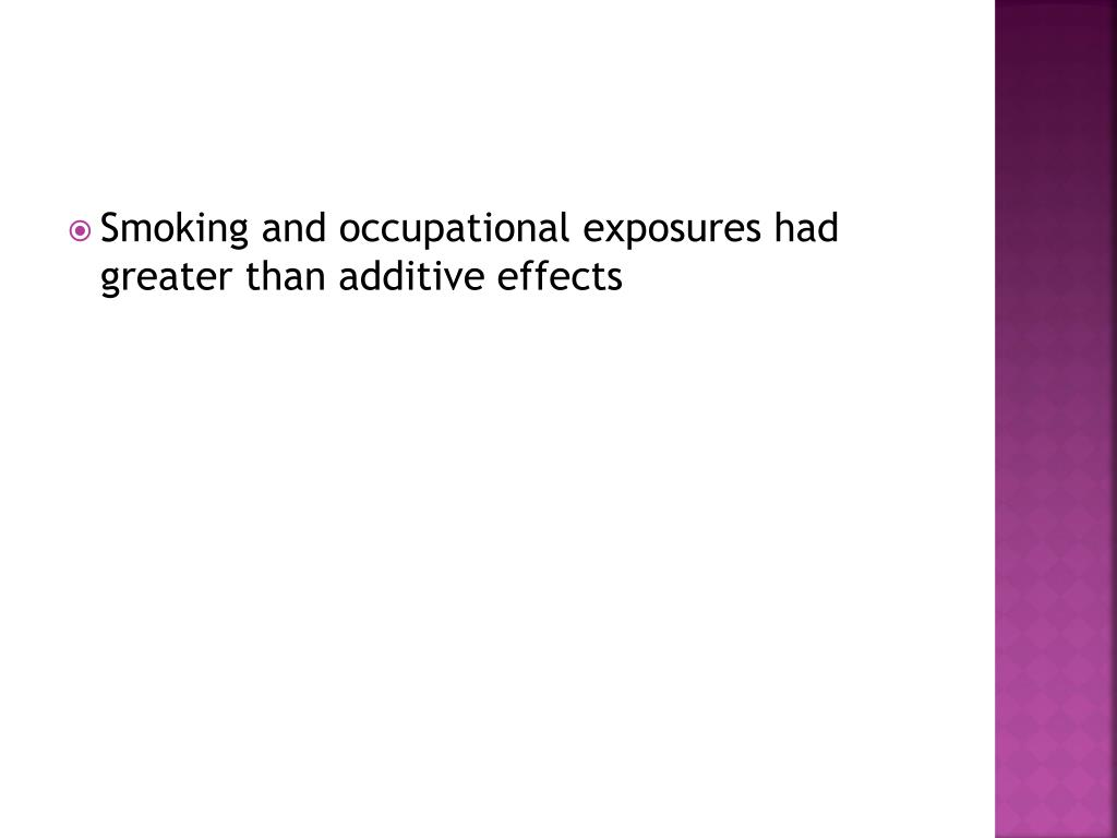 Smoking and occupational exposures had greater than additive effects