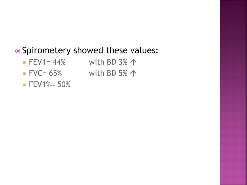 Spirometery showed these values:
