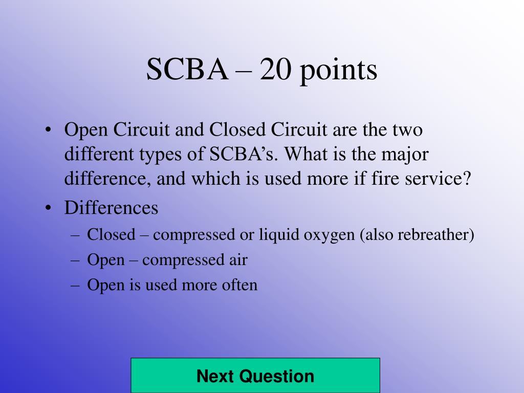 SCBA – 20 points