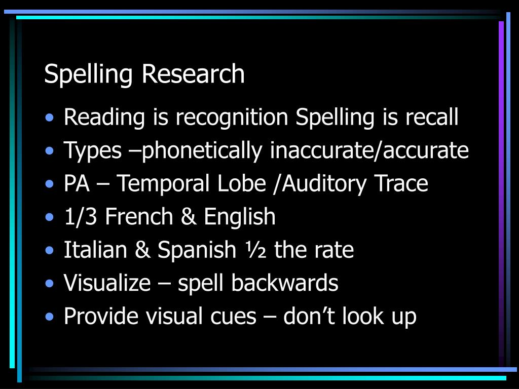 Spelling Research