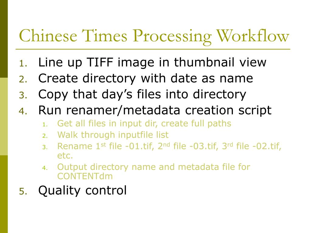 Chinese Times Processing Workflow